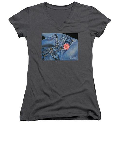 Favorite Jeans Women's V-Neck T-Shirt (Junior Cut) by Pamela Clements