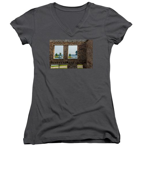 Fayette Ruins Women's V-Neck T-Shirt (Junior Cut) by Paul Freidlund