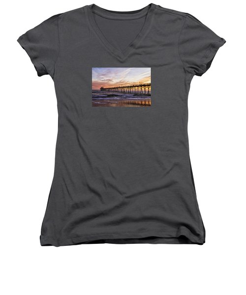 Febuary Sunset On Atlantic Beach Women's V-Neck T-Shirt (Junior Cut) by Bob Decker