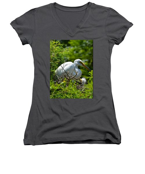 Women's V-Neck T-Shirt (Junior Cut) featuring the photograph Feed Me Mom by Judith Morris