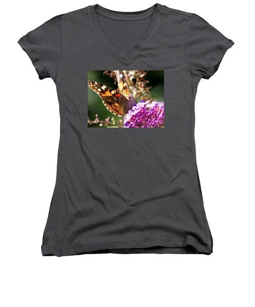 Women's V-Neck T-Shirt (Junior Cut) featuring the photograph Feeding by Eunice Miller