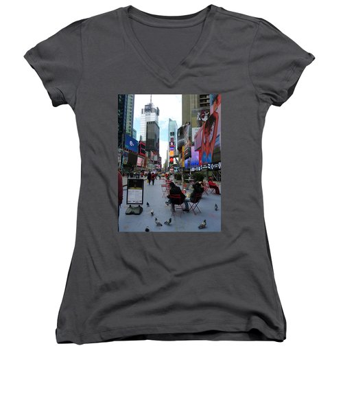 Women's V-Neck T-Shirt (Junior Cut) featuring the photograph Feeding Time by Jackie Carpenter