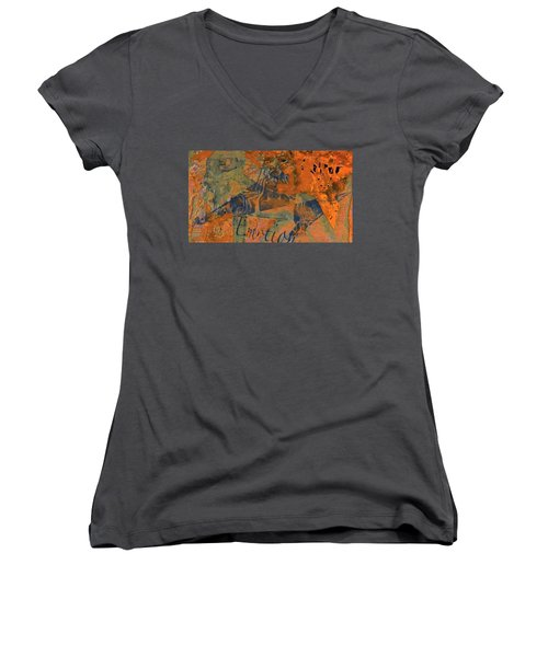 Feel Emotion Orange And Green Women's V-Neck T-Shirt (Junior Cut) by Deprise Brescia