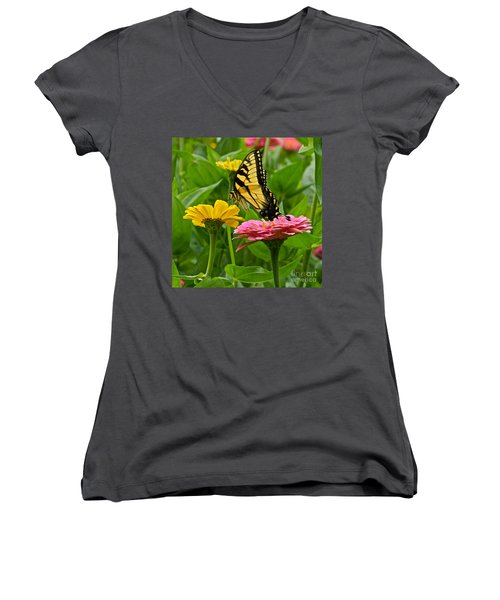 Women's V-Neck featuring the photograph Female Tiger Swallowtail Butterfly With Pink And Yellow Zinnias by Byron Varvarigos