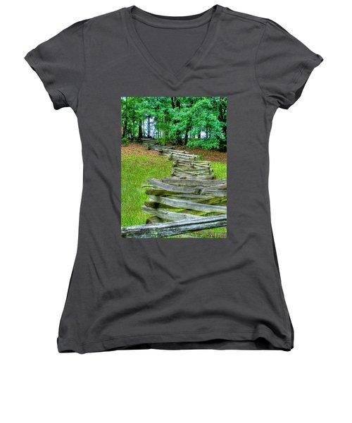 Fence Line Women's V-Neck T-Shirt (Junior Cut) by Dan Stone