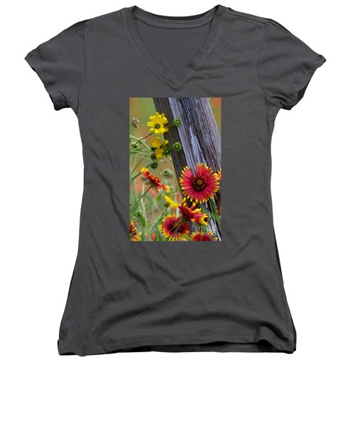Fenceline Wildflowers Women's V-Neck (Athletic Fit)