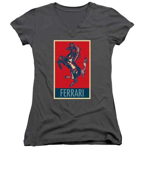 Ferrari Stallion In Hope Women's V-Neck (Athletic Fit)