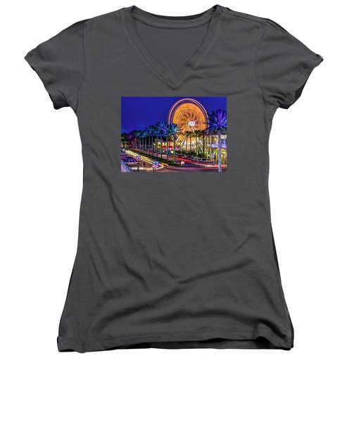 Ferris Wheel At The Wharf Women's V-Neck (Athletic Fit)