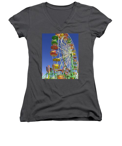 Ferris Wheel Women's V-Neck T-Shirt (Junior Cut) by Marcia Socolik