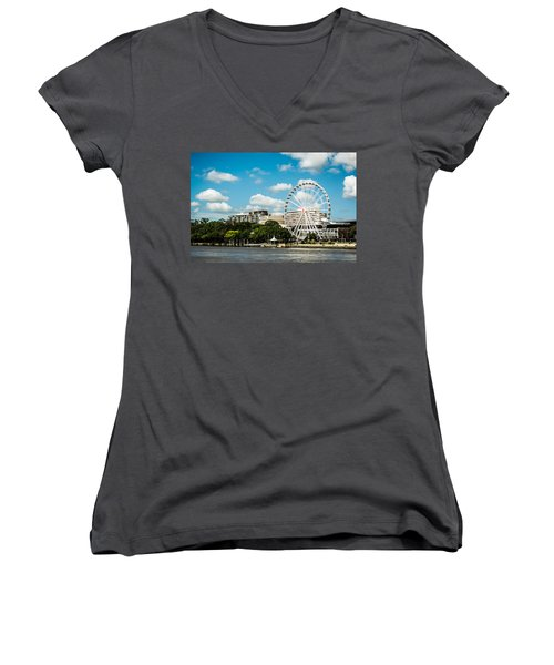 Ferris Wheel On The Brisbane River Women's V-Neck T-Shirt (Junior Cut) by Parker Cunningham