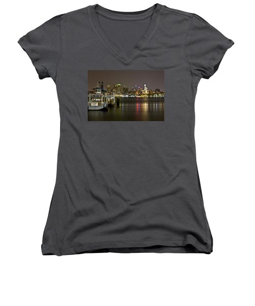 Ferry To The City Of Brotherly Love Women's V-Neck