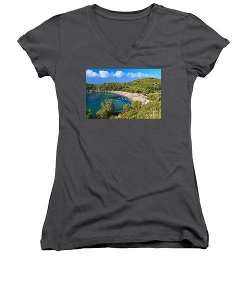 Fetovaia Beach - Elba Island Women's V-Neck T-Shirt (Junior Cut) by Antonio Scarpi