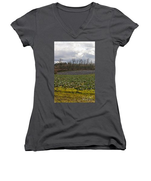 Women's V-Neck T-Shirt (Junior Cut) featuring the photograph Field Of Color 2 by Belinda Greb