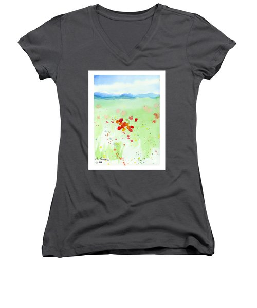 Field Of Flowers 2 Women's V-Neck T-Shirt (Junior Cut) by C Sitton