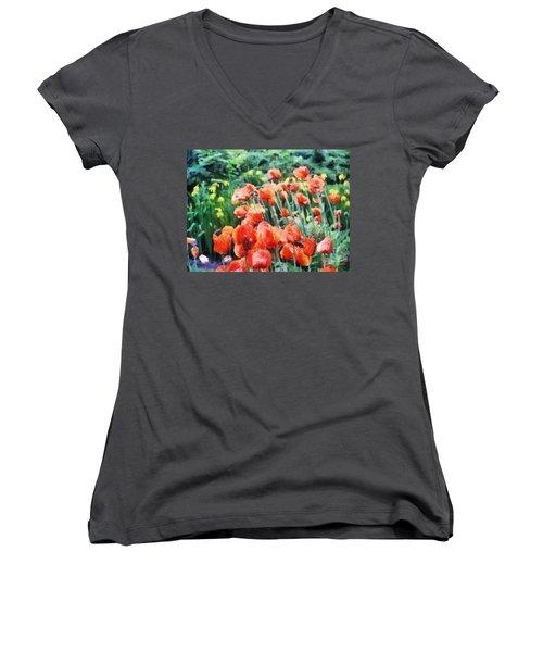 Field Of Flowers Women's V-Neck T-Shirt (Junior Cut) by Jeff Kolker
