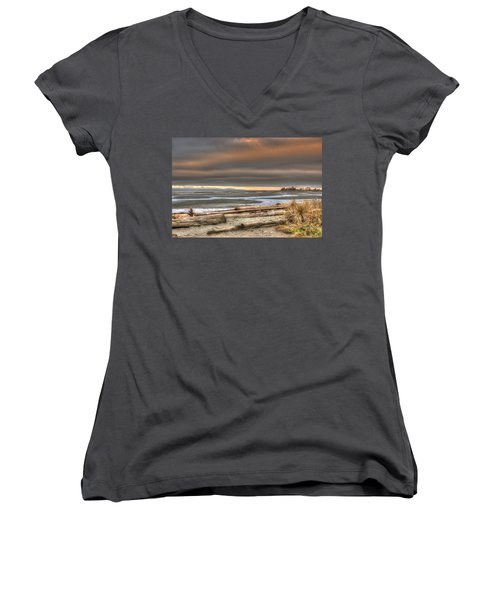 Fiery Sky Over The Salish Sea Women's V-Neck