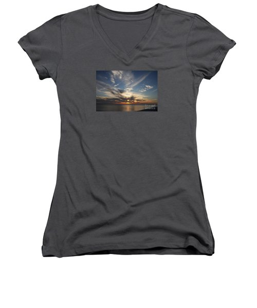Women's V-Neck T-Shirt (Junior Cut) featuring the photograph Fiery Sunset Skys by Christiane Schulze Art And Photography