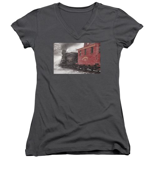 Fighting Through The Winter Storm Women's V-Neck T-Shirt (Junior Cut) by Ken Smith