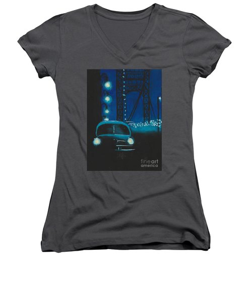 Film Noir In Blue #1 Women's V-Neck T-Shirt (Junior Cut)