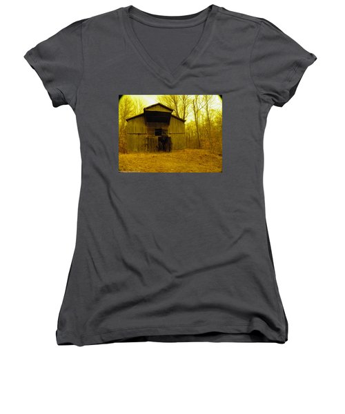 Women's V-Neck T-Shirt (Junior Cut) featuring the photograph Filtered Barn by Nick Kirby