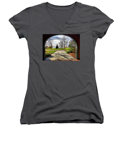 Women's V-Neck T-Shirt (Junior Cut) featuring the photograph Finger Lakes View From Mackenzie Childs  by Mitchell R Grosky
