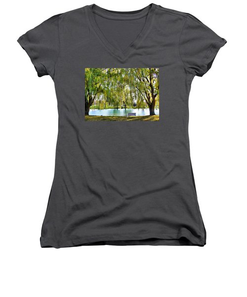 Finger Lakes Weeping Willows Women's V-Neck T-Shirt (Junior Cut) by Mitchell R Grosky