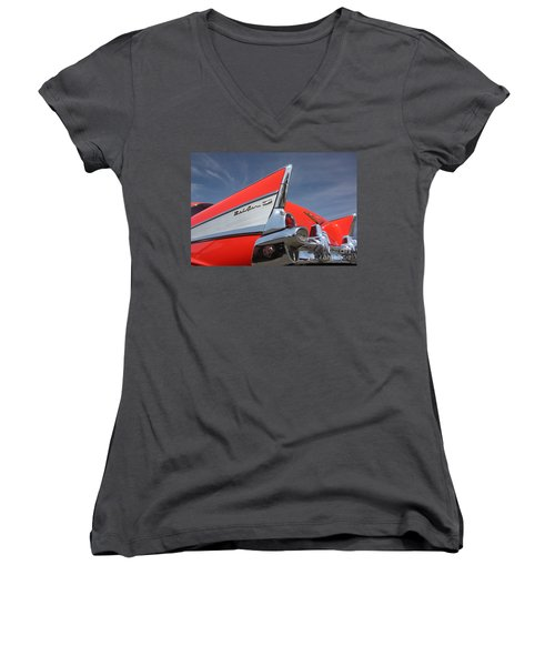 Fintastic '57 Chevy Women's V-Neck (Athletic Fit)