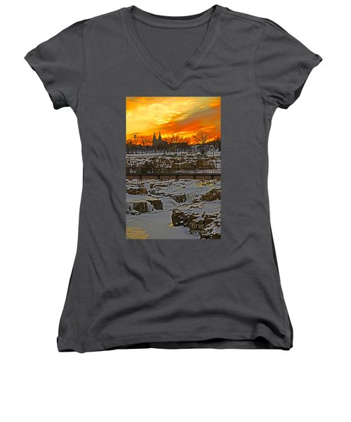 Fire And Ice Women's V-Neck T-Shirt (Junior Cut) by Elizabeth Winter