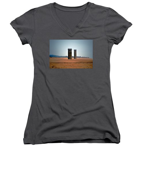 Fct5 And Fct6 Fire Control Towers On The Beach Women's V-Neck T-Shirt