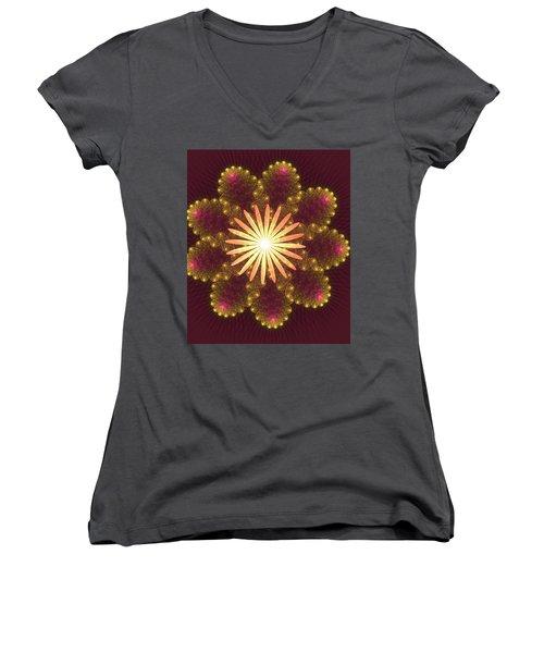 Fire Flower Mandala Women's V-Neck (Athletic Fit)