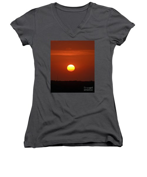 Women's V-Neck T-Shirt (Junior Cut) featuring the photograph Fire In The Sky by Kerri Farley