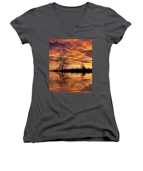 Fire Painters In The Sky Women's V-Neck T-Shirt (Junior Cut) by Bill Pevlor