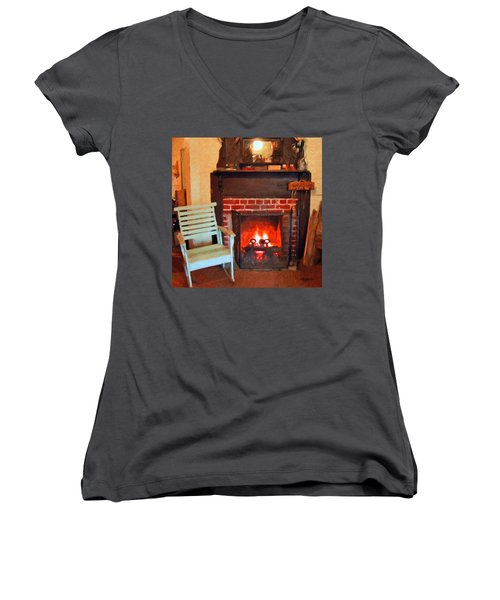 The Family Hearth - Fireplace Old Rocking Chair Women's V-Neck (Athletic Fit)