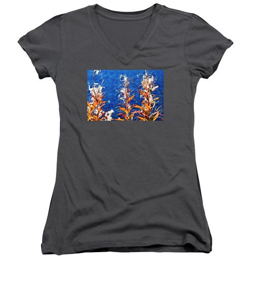 Women's V-Neck featuring the photograph Fireweed Flower by Heiko Koehrer-Wagner