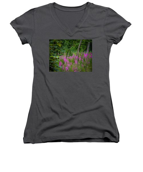 Fireweed In The Irish Countryside Women's V-Neck