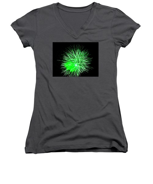 Women's V-Neck T-Shirt (Junior Cut) featuring the photograph Fireworks In Green by Michael Porchik