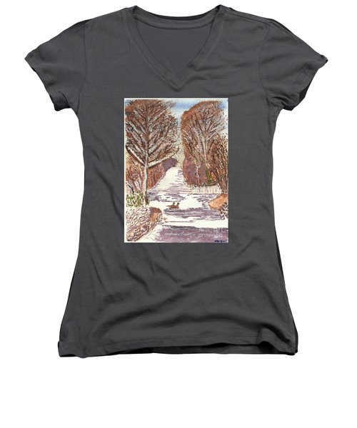 First Footprints Women's V-Neck (Athletic Fit)