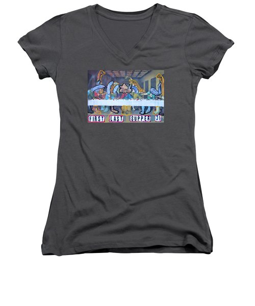 First Last Supper Women's V-Neck (Athletic Fit)