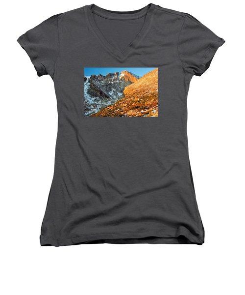 First Light At Longs Peak Women's V-Neck T-Shirt (Junior Cut) by Eric Glaser