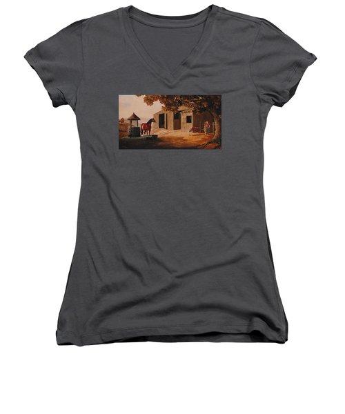 First Meeting Women's V-Neck T-Shirt (Junior Cut) by Duane R Probus