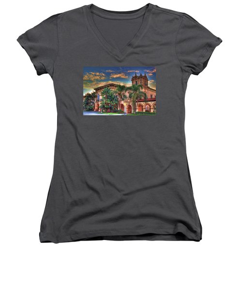 Women's V-Neck T-Shirt (Junior Cut) featuring the photograph First Morning Glow by Gary Holmes