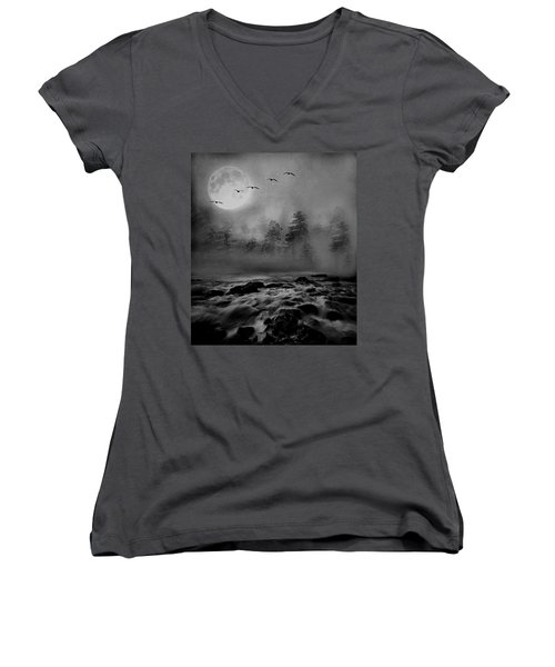 First Snowfall Geese Migrating Women's V-Neck