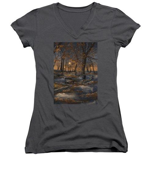 First Snowfall Women's V-Neck T-Shirt (Junior Cut) by Veronica Minozzi