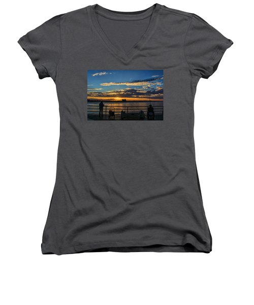 Women's V-Neck T-Shirt (Junior Cut) featuring the photograph Fishermen Morning by Tammy Espino
