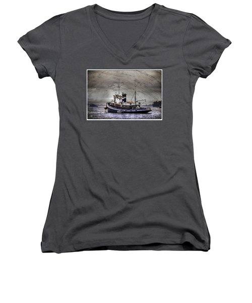 Women's V-Neck T-Shirt (Junior Cut) featuring the mixed media Fishing Boat by Peter v Quenter
