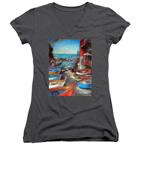 Fishing Boats In Riomaggiore Women's V-Neck T-Shirt (Junior Cut)