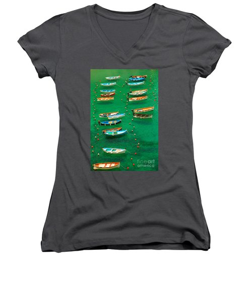 Fishing Boats In Vernazza Women's V-Neck (Athletic Fit)