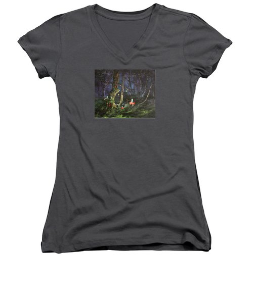 Fishing For Supper On Cannock Chase Women's V-Neck T-Shirt (Junior Cut) by Jean Walker