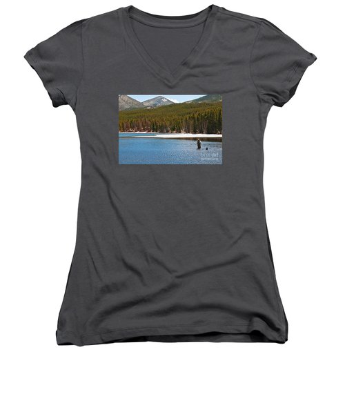 Women's V-Neck featuring the photograph Fishing In Winter by Mae Wertz