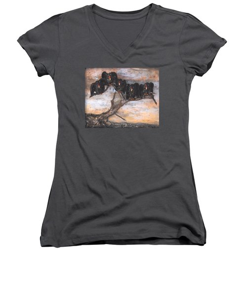 Five Vultures In Tree Women's V-Neck T-Shirt (Junior Cut)